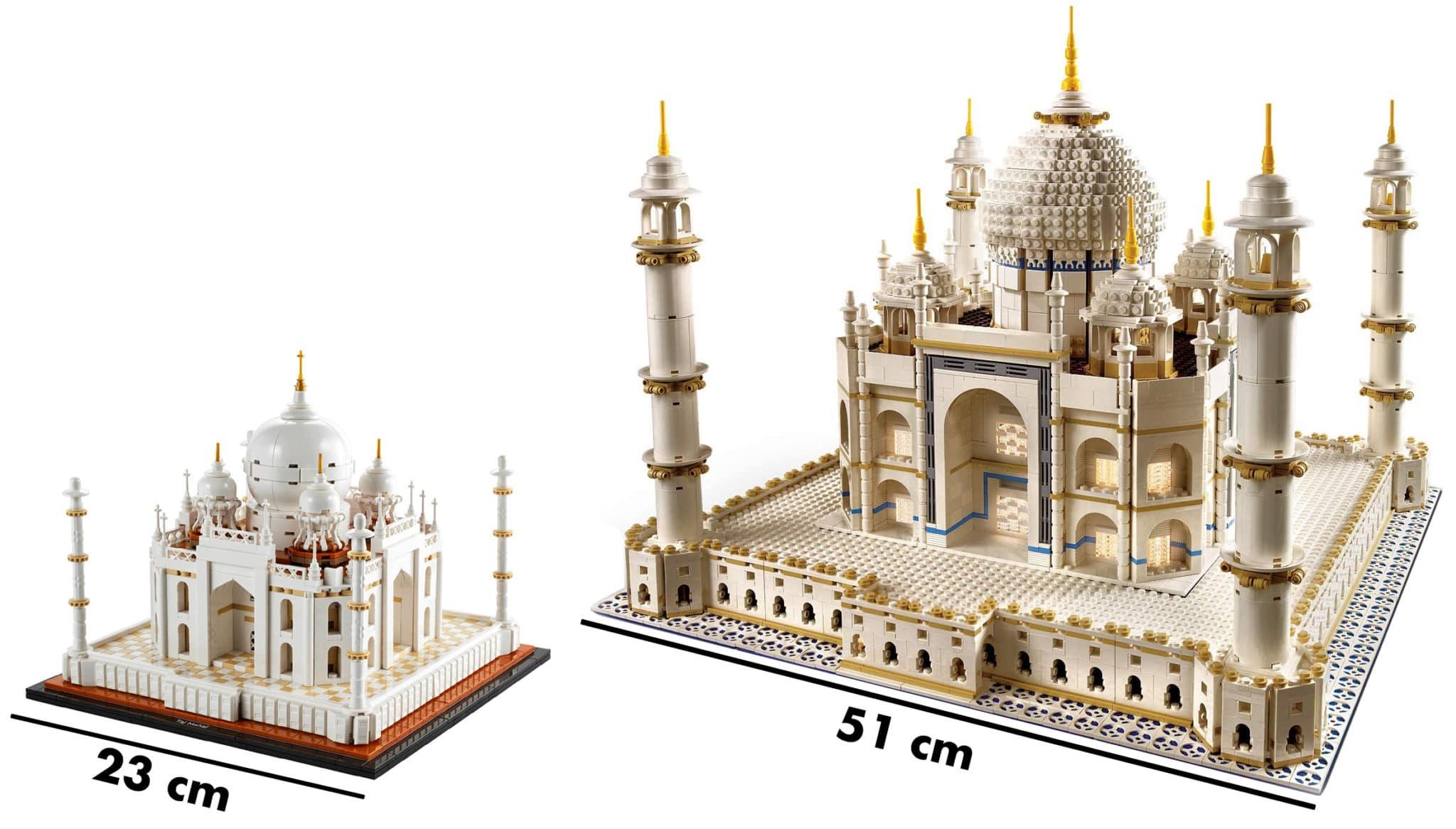 Comparación de tamaño de LEGO Taj Mahal