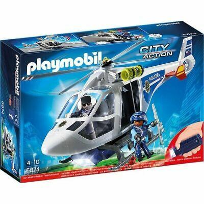 PLAYMOBIL City Action 6874 Helicóptero de policía con reflector LED
